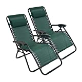 Todeco Garden Textilene Relaxer, Foldable Zero Gravity Chair, 165 x 112 x 65 cm (65 x 44 x 25.6 inch), Green, Textilene, Pack of 2, with Pillow, Maximum load: 100 kg, Material: Steel