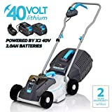 SWIFT 40 V EB132C22 Cordless Digital Compact Lawn Mower Cutting Width 32 cm with 2 x Batteries and 1 x Charger