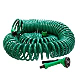 New 30M Green Coil Garden Hose Including Adjustable Flexible Spray Head