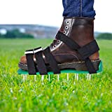 EEIEER Lawn Aerator Shoes, Lawn Aerating Shoes with Hook&Loop Straps, Heavy Duty Lawn Spiker Aerator Lawn Sandals Lawn Aerator Scarifier Lawn Scarifier Lawn Aerator Spike, for Yard Patio Lawn Garden