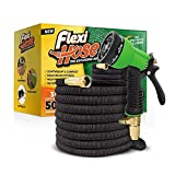 Flexi Hose Upgraded Expandable Garden Hose, Extra Strength, 3/4' Solid Brass Fittings - The Ultimate No-Kink Flexible Water Hose, 8 Function Spray Included (50 FT, Black)