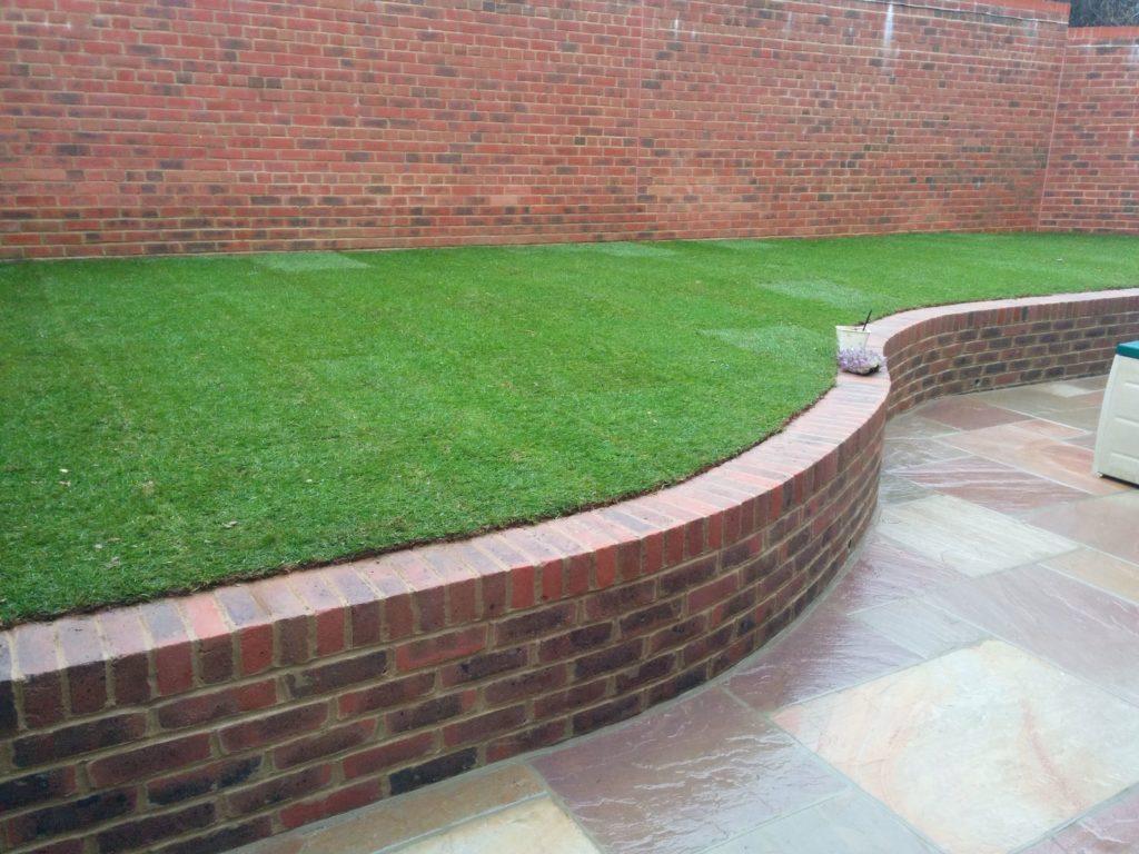 brick wall garden edging