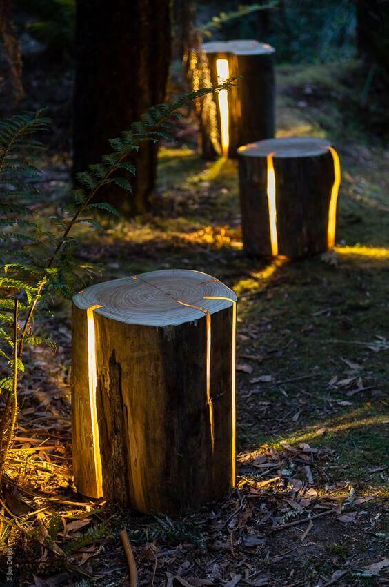 LED Garden Logs